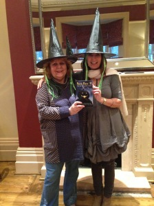 Adrienne and LIzzie at the Belmont with their copy of Hocus Pocus. No comments about them being witches . . .