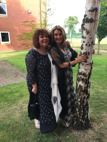 Lizzie and Adrienne, tree hugging